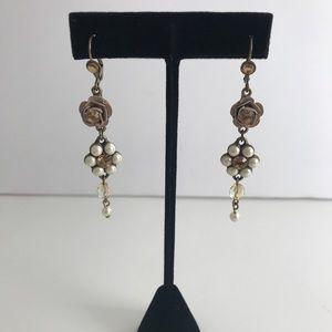 J. CREW Pearl+Leather+Jewels Flower Drop Earrings